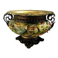 "Royal Bonn ""Sugar"" Glaze Enameled Scenic Planter Ornate Metal Holder! Beautiful"
