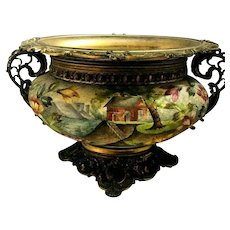 "Royal Bonn ""Sugar"" Glaze Enameled Scenic Planter Ornate Metal Holder! Beautiful"
