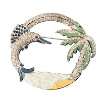 Vintage Large Enameled 1940's Rhinestone Inset Palm Tree & Leaping Fish Brooch!