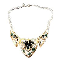 Exquisite CORO Enameled Bell Flower Necklace Faux Pearls & Rhinestones