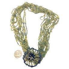 Vendome Ruffled Flower Multi-Strand Crystal Beaded Drama Necklace!