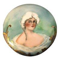 Stunning T&V Limoges France Lady Portrait Gilt Enameled Large Powder Jar!