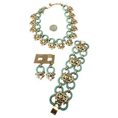 RARE NAPIER Turquoise Lucite Ring Necklace, Bracelet & Earrings!