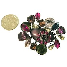 Signed SCHREINER Brooch Colorful Rhinestones & Oval Lavender Stone
