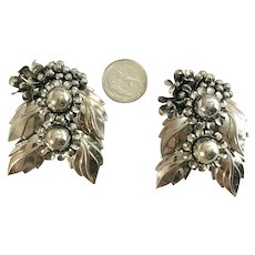 Large Antique Silver Tone Metal Leaf & Flower Shoe Clips or Dress Clips.