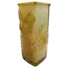 Antique Signed Daum Nancy Cameo Art Glass Cut Vase w/Raised Gilt Edged Flowers