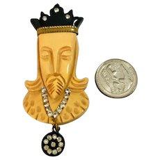 EXTREMELY RARE Bakelite Heraldic King Figural Vintage Brooch!