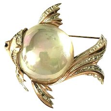 RARE Iridescent Huge Jelly Belly Coro Craft Sterling  Vermeil Figural Fish Brooch