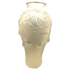 Large Vintage Lalique France Signed Crystal Vase Giverny Pattern 11 1/2""