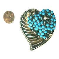 Sterling Silver Boucher Turquoise Bead & Rhinestone Fur Pin Brooch