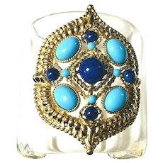 RARE Vintage Ben Amun Signed Lucite Bracelet Cabochon