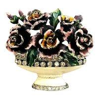 1940's Vintage Figural Flower Basket Enameled Lavender & Rhinestone Brooch