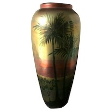 Large Weller American Art Pottery LASA Palm Tree & Scenic Vase