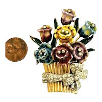 1940s Flower Basket Figural Enameled Rhinestones Fur Pin Brooch