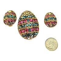 Vintage Napier Aqua & Pink Rhinestone Figural Easter Egg Brooch & Earrings!