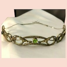 RARE Art Deco Nouveau Antique Glass Cabochon Bandeau or Diadem Original