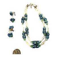 Exquisite Vintage Vendome Crystal And Glass Blue Flowers Necklace & Earrings