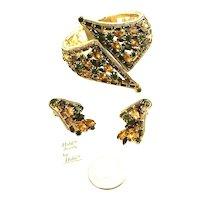 """Huge HOBE """"Jewels"""" Orig. Tag Vintage Cross-Over Hinged Bracelet & Earrings"""