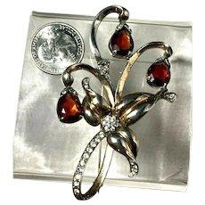 Signed REJA Sterling Silver Vermeil Rhinestone Figural Flower Brooch
