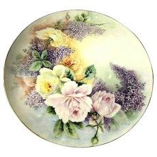 """DIVINE Vintage Limoges JPL Pouyat Artist Signed Lilac & Roses 13 1/2"""" Charger"""
