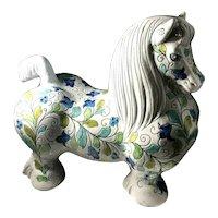 Mid-Century Mancioli For Raymor Vintage Art Pottery Large Flower Covered Horse