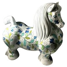 Mid-Century Mancioli For Raymor Vintage Art Pottery Large Flower Covered Horse