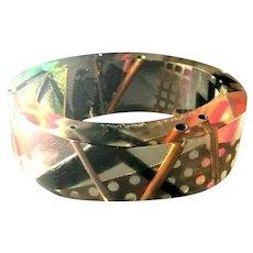 Rare Artist Lindsay Illiff Signed Colorful Unique Embedded Wide Bangle Bracelet