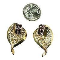 Fabulous Pair BOUCHER Rhinestone Embedded Leaf Shaped Fur Pins Brooches