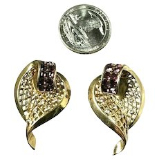 Fabulous Pair BOUCHER Rhinestone Embedded Leaf Shaped Fur Pins Brooches