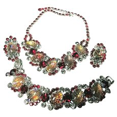 Juliana D&E Rare Cats Eye Foil & Ruby Rhinestone Bracelet, Necklace & Earrings