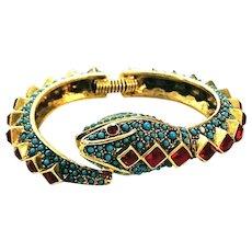 Rare Kenneth Lane Figural Turquoise Bead & Red Rhinestone Figural Snake Bracelet