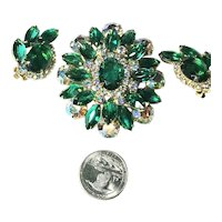 SENSATIONAL Juliana D&E Green & Iridescent Rhinestone Brooch & Earrings