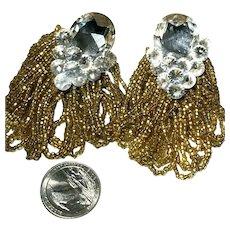 Fabulous Wendy Gell Bronze Beaded Loop Dangle Huge Rhinestone Earrings
