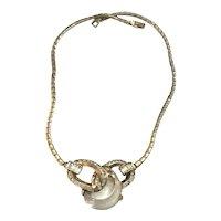 RARE Crown Trifari Alfred Phllippe Lucite & Rhinestone Jelly Belly Necklace