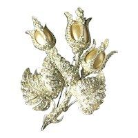 RARE STARET Signed Rhinestone Embedded Faux Pearl Flower Brooch