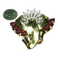 Substantial MAZER Heavy Ruby Red & Crystal Rhinestone & Baguette Fur Pin Brooch