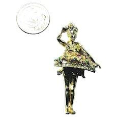 Adolph Katz Coro Craft Gold Tone Concession or Cigarette Girl Figural Brooch