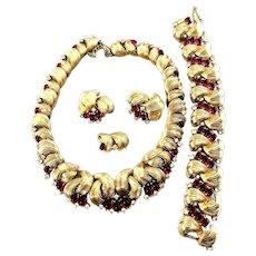 RARE Ruby Glass Cabochon Inset BOUCHER Bib Necklace, Bracelet & Earrings