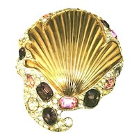 Vintage Figural Sea Shell Fur Pin Brooch Amethyst, Pink & Crystal Rhinestones