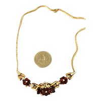 Alfred Philippe Crown Trifari Sterling Ruby Red Flower & Rhinestone Necklace