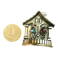 RARE Coro Pegasus Forecast Weather House Figural Brooch