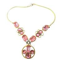 Vintage Pink Rhinestone & Cabochon Snake Chain Necklace! SUPERB!