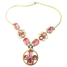 Vintage Pink Rhinestone & Cabochon Snake Chain Necklace! SUPERB!