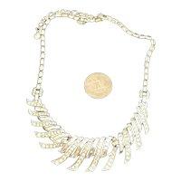 Stunning Vintage Boucher Necklace Rhinestone Embedded Flowing Necklace #6611