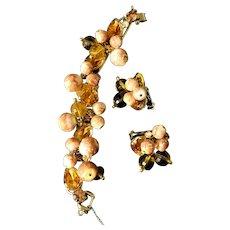 Luscious Juliana DeLizza & Elster Topaz Bead & Peach Dangle Bracelet & Earrings