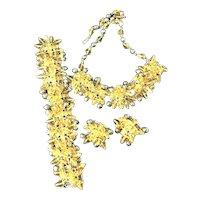 Exceptional Vintage Necklace, Bracelet & Earrings Gray Faux Pearls, Rhinestones