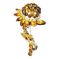 EISENBERG Figural Sunflower Rhinestone Embedded Brooch