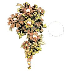 Gorgeous Large Vintage Sweet Romance Layered Flower Autumn Colors Brooch