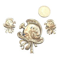 RARE Unsigned Boucher Sterling Silver (Tested) Stylized Octopus Brooch, Earrings
