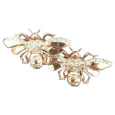 Fabulous CORO Sterling Silver Vermeil Rhinestone Inset Figural Bee Duette